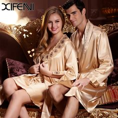 2016 Super Deals Lover Couple Robes Sets Women Silk Embroidery Summer Sexy Sleepwear man silk long Bride Robe Bathrobe * Read more reviews of the product by visiting the link on the image.