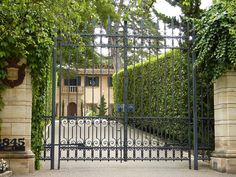 Gates of private Spanish Colonial estate in Montecito, California.