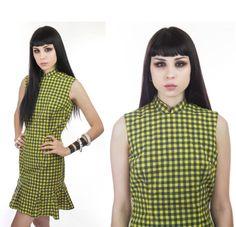 60s School Girl MOD Dress Yellow & Gray by neonthreadsdesigns, $38.00