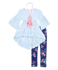 Maya Fashion Blue & Navy Floral Bell-Sleeve Top Set - Girls | zulily