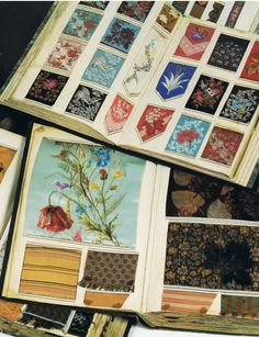 Antique Ribbon Sample Books.  19th Century, France.  What I wouldn't give to look through all those gorgeous ribbons!