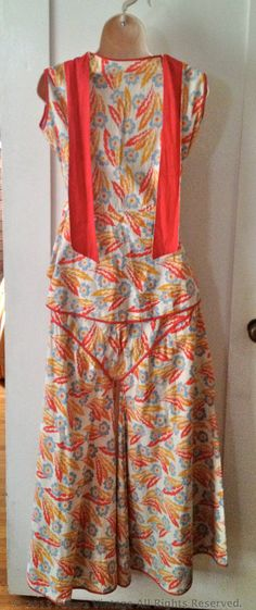 1930s Enchanting Tropical Two Piece Ensemble Cotton Floral Beach Lounge Pajamas-S