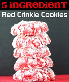 Easy Dessert Recipes!  This tasty cookie recipe takes only 5 ingredients, and will become a new family favorite!  Go check it out today. Crinkle Cookies Cake Mix, Chocolate Cake Mix Cookies, White Chocolate Cake, Cake Cookies, Yummy Cookies, Sugar Cookies, Red Velvet Cookie Recipe, Red Velvet Cookies, Cake Mix Cookie Recipes