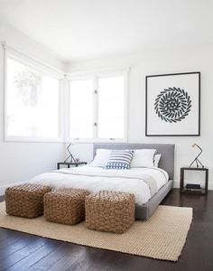 """""""Basically, the higher the bed, the more physical and visual space it's taking up,"""" says Orlando Soria, West Coast creative director of Homepolish. """"A lower bed will make your bedroom appear larger an Home Decor Bedroom, Modern Bedroom, Bedroom Furniture, Bedroom Ideas, Design Bedroom, Diy Bedroom, Girls Bedroom, Furniture Ideas, Bedroom Setup"""