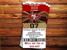San Francisco 49ers Ticket Birthday by MarjinCreations on Etsy