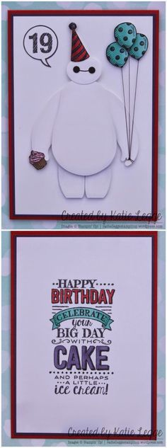Stampin Up: Stampin' Up! Big Hero 6 Baymax Birthday Card | Created by Katie Legge