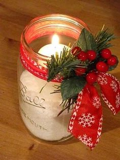 Decorative candle lights for parties. Use epsom salt to hold the candles in the jar - it glistens like snow for Christmas. ❤❦♪♫