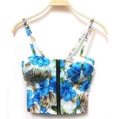 Your day won't be complete without this! Blue Hibiscus Zip... http://simplyparisboutique.com/products/blue-hibiscus-zipper-padded-bustier-cami-top