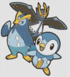 Pokemon - Piplup Evolutions - 35 Colors Cross Stitch Pattern
