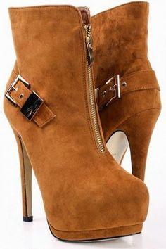 Buckskin Suede Zip Up Buckle Stiletto Platform Boots