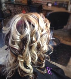 Lightest blonde, with red violet and deep dark brown.