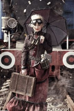 Steampunk woman with a bag and umbrella