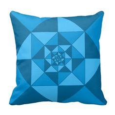 Shades of blue geometric pattern throw pillow.