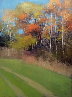 Fall Treeline by David Skinner: Acrylic Painting available at www.artfulhome.com Landscape painting done in acrylic paint on canvas, based on a scene near Asheville, NC.