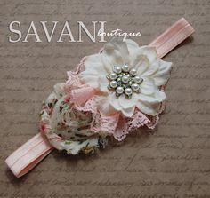 Peach and ivory baby headband shabby chic roses by SAVANIboutique, $11.99