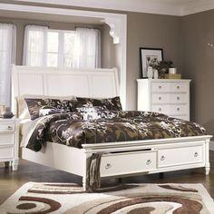 Signature Design By Ashley Prentice White Sleigh Storage Bed By Signature Design By Ashley White Bedroom Setbedroom