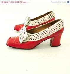 60s Red and White perforated, leather heels