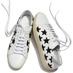 Saint Laurent Star-Embroidered Leather Sneaker ($645) ❤ liked on Polyvore featuring shoes, sneakers, round toe sneakers, leather lace up sneakers, star shoes, laced shoes and genuine leather shoes