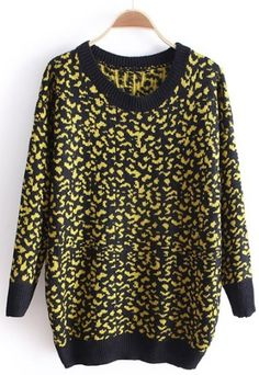 Black Leopard Long Sleeve Loose Pullovers Sweater