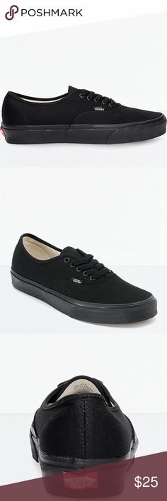 9aae6eee8d22c7 Vans Authentic All Black Skate Shoes  Men s Sz 8 Wmn s Sz 9.5   New