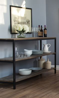 Perfect for first apartments or cozy living spaces, this sleek console table tucks behind a sofa for chic style. Get this and more at jossandmain.com