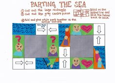 Flame: Creative Children's Ministry: Printable Parting of the Red Sea Storyteller (Exodus - Moses topic Preschool Bible Lessons, Bible School Crafts, Bible Crafts, Moses Crafts, Kids Crafts, Sunday School Kids, Sunday School Crafts, Moses Red Sea, Crossing The Red Sea