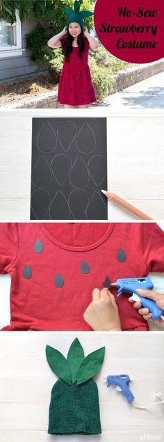 Super easy and inexpensive no-sew DIY strawberry costume! Simple hot glue gun the pieces to an easy to find read cotton dress and boom. You're Halloween ready: Fruit Halloween Costumes, Food Costumes, Easy Costumes, Diy Fruit Costume, Zombie Costumes, Costumes Kids, Homemade Costumes, Family Costumes, Group Costumes