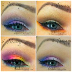 First four looks of 2014- Mostly Sugarpill cosmetics :)