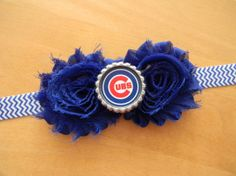 Chicago Cubs inspired shabby flower baby/toddler/adult headband