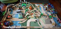 Our Latest Wooden Train Layout - Play Trains! Train Activities, Toddler Activities, Trains For Sale, Model Training, Train Table, Wooden Train, Thomas The Train, Train Layouts, Train Set