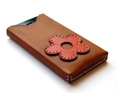Handmade iPhone Leather Case Cherry blossom design by RitsandRits