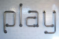 Andrew Byrom's Grab-Me typeface is made from steel grab bars.