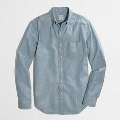 $39, Factory Chambray One Pocket Shirt by J.Crew Factory. Sold by J.Crew Factory. Click for more info: http://lookastic.com/men/shop_items/176838/redirect