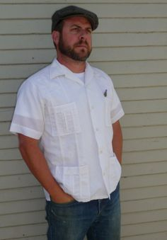 Mens White Mexican Wedding Shirt Yucamex by StitchyLifeVintage, $26.00