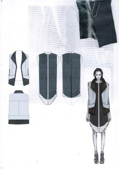 Fashion Sketchbook - fashion design drawings & fabric swatches; fashion portfolio layout; collection development // Amy Dee