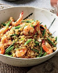 Warm Shrimp Salad w/Kamut, Red Chile Tarragon. One of my favorite healthy go-to dinner recipes. Shrimp Recipes, Wine Recipes, Salad Recipes, Cooking Recipes, 600 Calorie Meals, Low Calorie Recipes, Healthy Recipes, Healthy Work Snacks, Healthy Eating