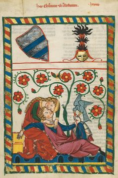 Manesse Codex (1305-1340), copied and illustrated in Zurich. It contains German love songs, by important poets, some of whom were famous rulers.
