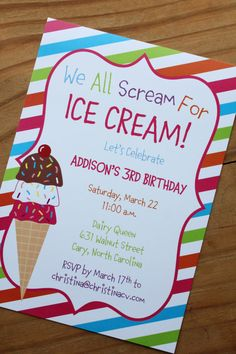 Ice Cream Birthday Invitation | Ice Cream Party | Digital Download | Printable file