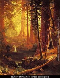 Albert Bierstadt Most Famous Painting | ... Trees of California - Albert Bierstadt - www.most-famous-paintings.org