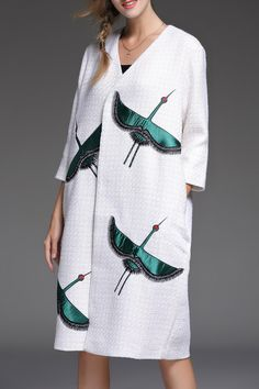Crane Embroidered Trench Coat