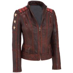 Black Rivet Distressed Stars and Stripes Leather Jacket w/ Lacing Detail - Leather - Women - Wilsons Leather Distressed Leather Jacket, Vintage Leather Jacket, Biker Leather, Leather Jackets, Vintage Biker, Motorcycle Leather, Real Leather, Black Leather, Cafe Racer Leather Jacket