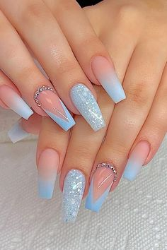 78 Hottest Classy Acrylic Coffin Nails Long Designs For Summer Nail Color - H . - 78 Hottest Classy Acrylic Coffin Nails Long Designs For Summer Nail Color – Pretty Nails – Hybr - Summer Acrylic Nails, Summer Nails, Coffin Nails Designs Summer, Nail Designs With Glitter, Light Blue Nail Designs, French Manicure Acrylic Nails, Colored Acrylic Nails, Cute Acrylic Nail Designs, French Manicure Designs