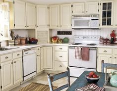 White Kitchen Cabinet Ideas Team Home Missions Image Love this cream color.  Paired with a pale sage green?