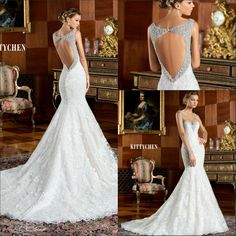 Wedding Gown 2015 2016 Beaded Lace Backless Wedding Dresses Vintage Sexy Princess Sweetheart With Straps Mermaid Court Train Shining Bridal Dress Gowns Pretty Vera Wedding Dresses From Weddingdressesonline, $159.84| Dhgate.Com