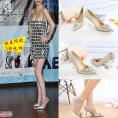 时尚精品女鞋馆,欧美2015春新款女高跟鞋水钻亮片尖头细跟婚鞋明星同款真皮女单鞋