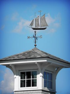 What a great weather vane! New Hampshire, Rhode Island, Vermont, Nantucket Island, Weather Vanes, Beach Cottage Decor, Coastal Decor, Nautical Home, Shed Plans
