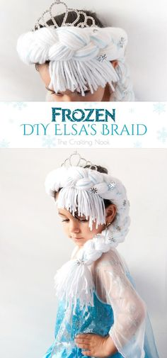 With just a few supplies like yarn, ribbon, snowflakes buttons and glitter you can make a girl's dream come true and become Elsa with this Frozen DIY Elsa's Braid