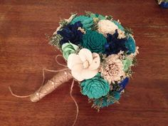 Teal, Aqua and mint Wedding Bouquet made with sola flowers - Customize colors - bridal bouquet - Alternative bouquet - bridesmaids bouquet