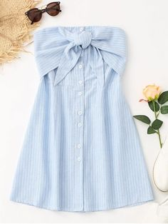 This tube mini dress features a button-up front with tiered bowknot detail and a smocked back with the hottest striped pattern throughout in A-line silhouette. It is easy to throw on for this boobtube style and its soft-feel fabric makes you wearing it with your fave sandals or loafers around the clock and never want to take off it. #Zaful #Mini #Dress