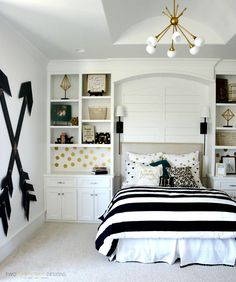 Teen Rooms For Girls Delectable Teen Girl's Room  Gray Striped Walls Black And White Bedding Inspiration Design